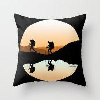 hiking Throw Pillows featuring HIKING by Şemsa Bilge (Semsa Fashion)