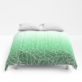 Ombre green and white swirls doodles Comforters