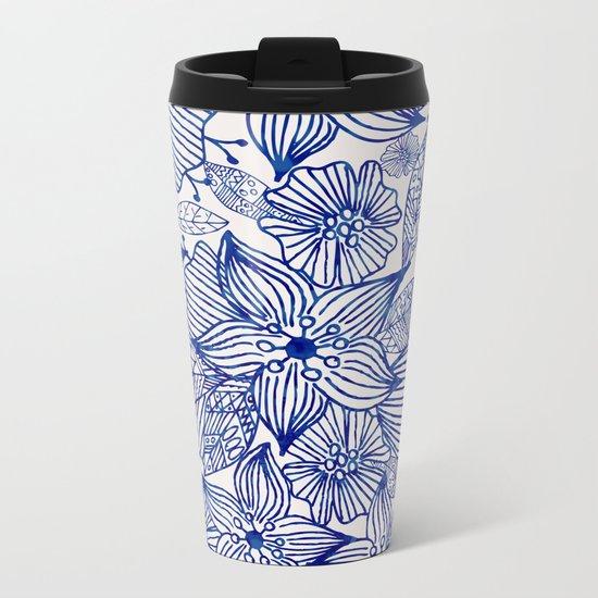 Hand painted royal blue white watercolor floral illustration Metal Travel Mug