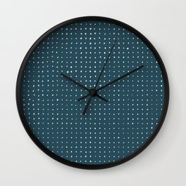 Hand Drawn Dots on Dark Teal Wall Clock
