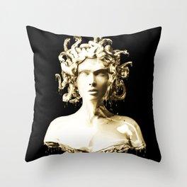 Gold Medusa Throw Pillow