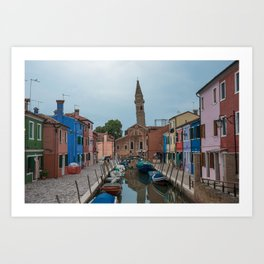 Burano Island Italy Canal Boats Art Print
