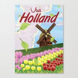 Visit Holland cartoon windmill vacation poster Canvas Print