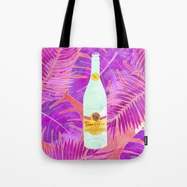 Topo Chico Art - Seltzer Bottle Texas Print with Tropical Background Tote Bag