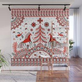 Russian folklore ornament. Mezen painting. Wall Mural