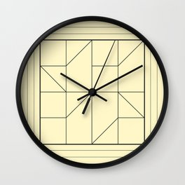 Pale Yellow Modern Geometry Wall Clock