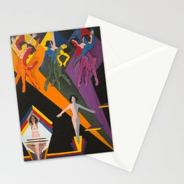 Independence Day - Riotous Dancing Girls in Colorful Bands of Rays painting by Ernst Ludwig Kirchner Stationery Cards