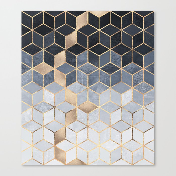 Soft Blue Gradient Cubes Leinwanddruck