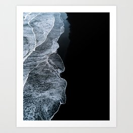 Waves on a black sand beach in iceland - minimalist Landscape Photography Art Print