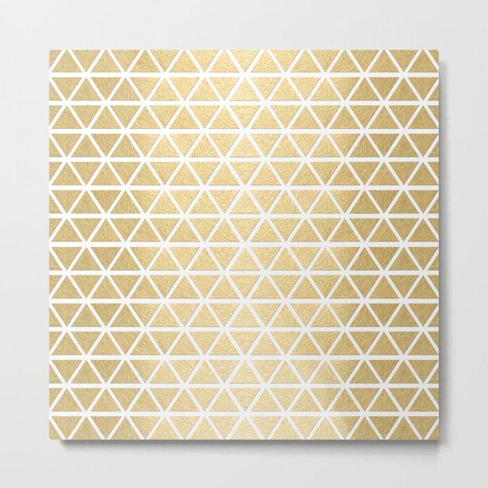 White and Gold Geometric Pattern 3 Metal Print