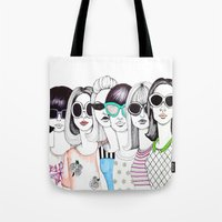 sunglasses Tote Bags featuring sunglasses by Emily Tumen
