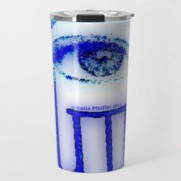 Blue Grunge Hamsa Travel Mug