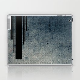 Geometric Grunge Blue - Gray Vertical Black Stripes Polka Dots Illustration Laptop & iPad Skin
