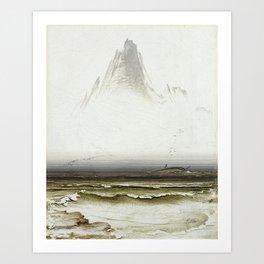 Peder Balke - Mount Stetind, Swathed in Fog - Norwegian Oil Painting Art Print
