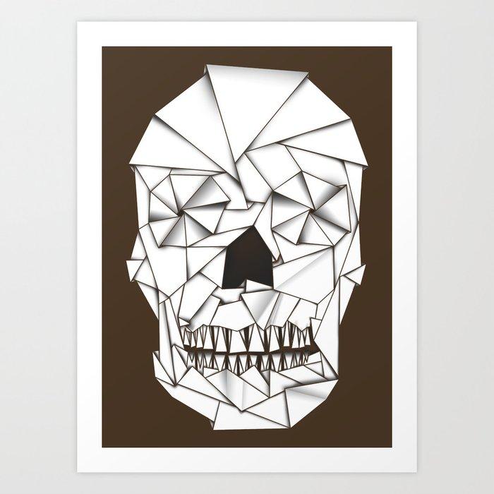 Origami Skull Art Print By Sandalo Society6