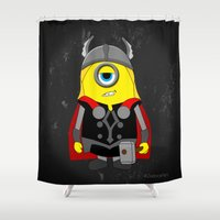 thor Shower Curtains featuring Thor Minion (Thor Parody) by ZeebraPrint