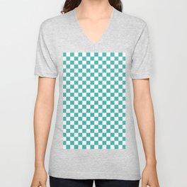 Small Checkered - White and Verdigris Unisex V-Neck