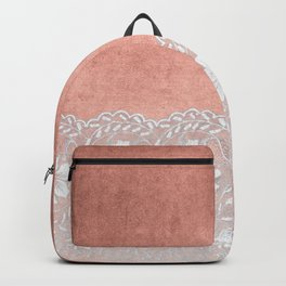 White floral luxury lace on pink rosegold grunge backround Backpack