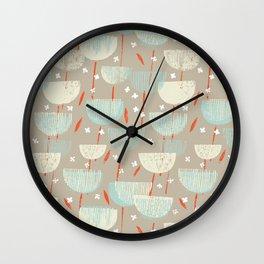 Botanical Block Print M+M Latte by Friztin Wall Clock