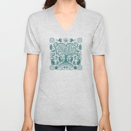 Rustic Early American Tree Of Life Woodcut Unisex V-Neck