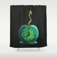 haunted mansion Shower Curtains featuring Haunted Mansion 13th Hour Clock Apple by ArtisticAtrocities