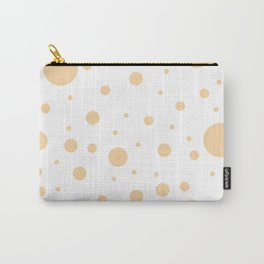 Mixed Polka Dots - Sunset Orange on White Carry-All Pouch