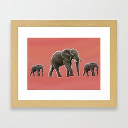 peach elephants crossing Framed Art Print