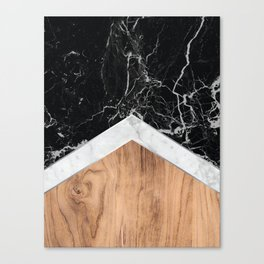 Arrows - Black Granite, White Marble & Wood #366 Canvas Print