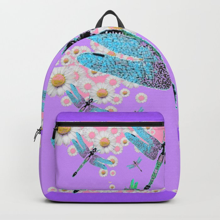 DELICATE BLUE DRAGONFLIES LILAC DAISY FLOWERS ART Backpack