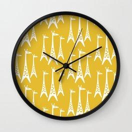 Mid Century Modern Giraffe Pattern 221 Mustard Yellow Wall Clock