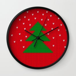 Knitted Christmas tree Wall Clock