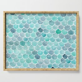 watercolor blue squama cells Serving Tray