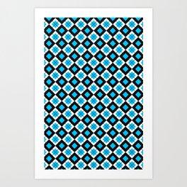 check it blue Art Print
