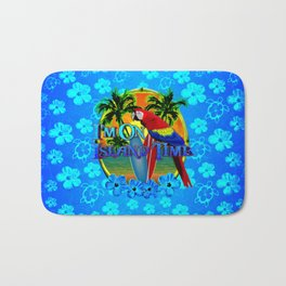 Island Time Surfing Blue Tropical Flowers Bath Mat