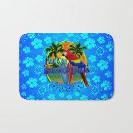 Island Time Surfing Blue Tropical Flowers Bath Mat