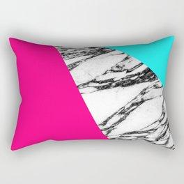Modern Pink Teal Black White Marble Geometric Tricut Rectangular Pillow