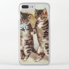 Vintage Cats Walking with Parasol Clear iPhone Case