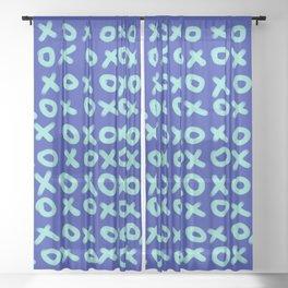 X O Blue on Blue Sheer Curtain