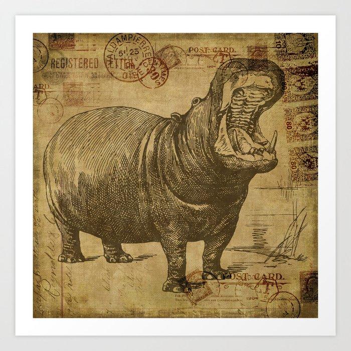 Vintage retro Hippo wildlife animal africa Kunstdrucke
