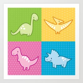 Colorful dinosaurs and pterodactyl cheater quilt Art Print