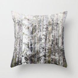 Abstract Silver Grunge Birch Throw Pillow