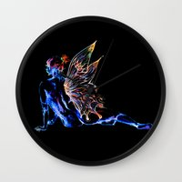 tinker bell Wall Clocks featuring Tinker Bell - My Glowing Love for You by Chien-Yu Peng