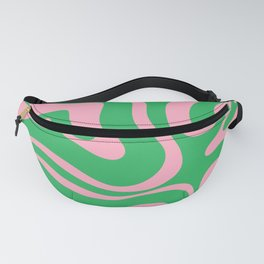 Pink and Spring Green Modern Liquid Swirl Abstract Pattern Fanny Pack