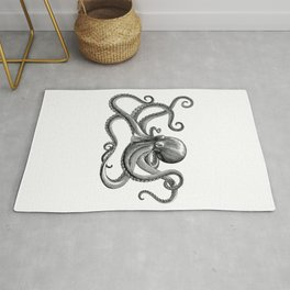 Octopus Black and White Rug