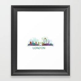 London UK Skyline HQ watercolor Framed Art Print