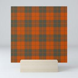 Classic Orange and Gray Square Pattern Gingham Plaid Mini Art Print