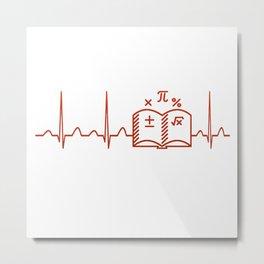 Math Teacher Heartbeat V2 Metal Print