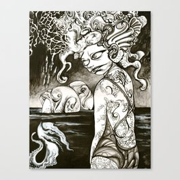 Squid-girl in squid ink Canvas Print