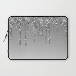 Gray & Silver Glitter Drips Laptop Sleeve