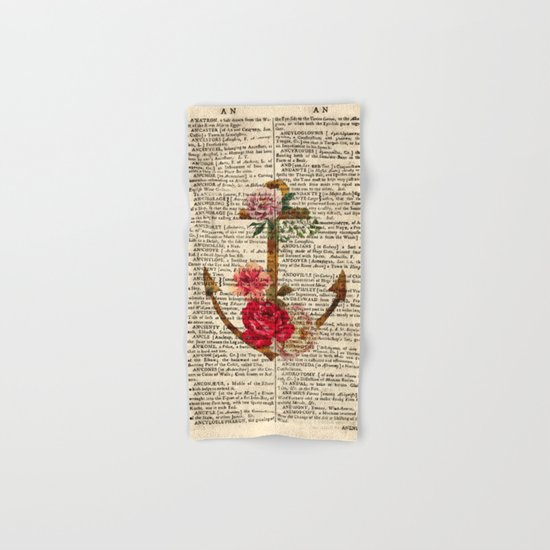 Vintage Anchor with Flowers Dictionary Art Hand & Bath Towel